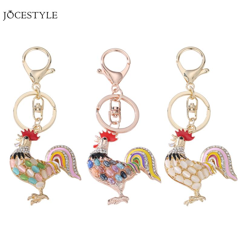 Pretty Chic Opals Cock Rooster Chicken Keychains Crystal Bag Pendant Key ring Key chains Gift Jewelry Llaveros Fashion Keychain