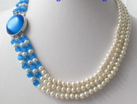 NEW 0015133 SHINY White Round Freshwater Pearl Blue Opal Necklace