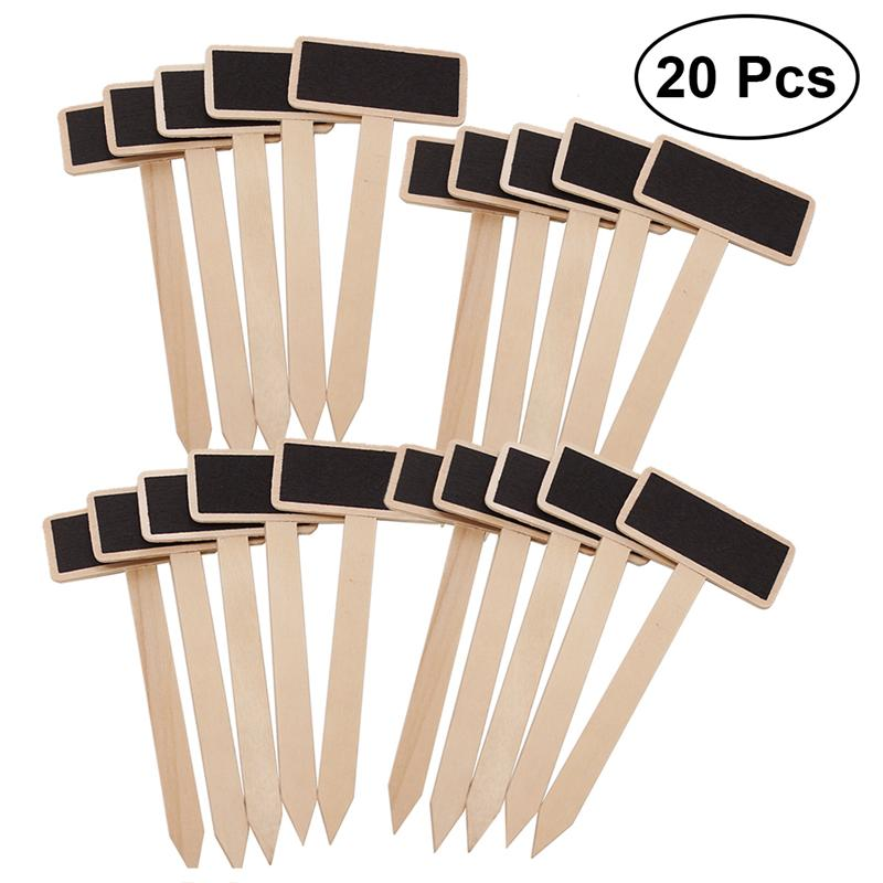 WINOMO 20 PCS Mini Wooden Chalkboard Blackboard Plant Markers Creative Decorative Garden Flowers And Plants Pot Tags