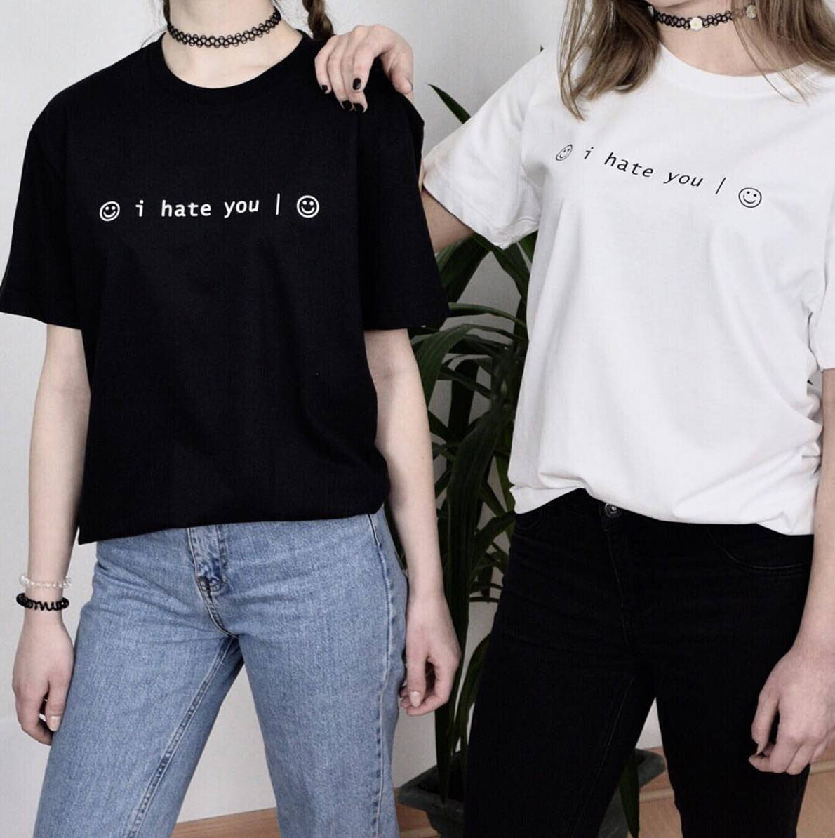Black t shirt grunge - I Hate You Smiley Face T Shirt Tumblr Inspired Pastel Pale Grunge Aesthetic Tee 2017 New