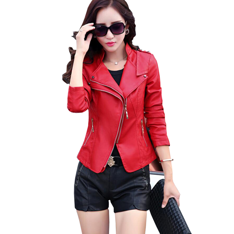 d4fe77d29 2018 New Fashion Women Autunm Winter Wine Red Faux Leather Jackets Lady  Bomber Motorcycle Cool ...