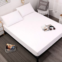 hyha Waterproof Polyester Home Mattress Protector Cover Solid Color Floral Printed Fitted Sheet Anti-dirty Bedroom Bedsheet(China)