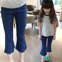 2017 New Fashion Girl Jeans Children Casual Pants Baby Girls Cowboy Flares Kids Trousers 5 12