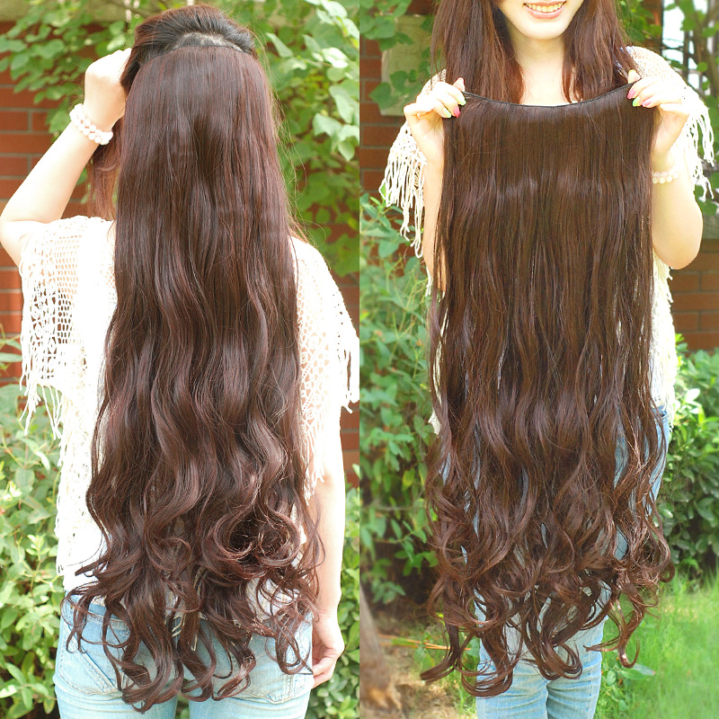 Free shipping 39inch Super Long one piece 6 clips in hair ...