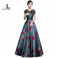 LOVONEY A Line O Neck Lace Evening Dresses Long 2017 Sexy Backless Formal Evening Gowns Women
