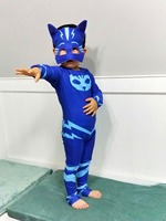 2017 Les Pyjamasques Fantasia Infantil Cosplay PJ Masks Hero Costume Birthday Party Dress Set For Christmas