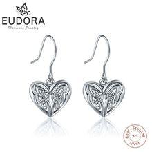 Серьги подвески eudra из стерлингового серебра с сердечком хорошие