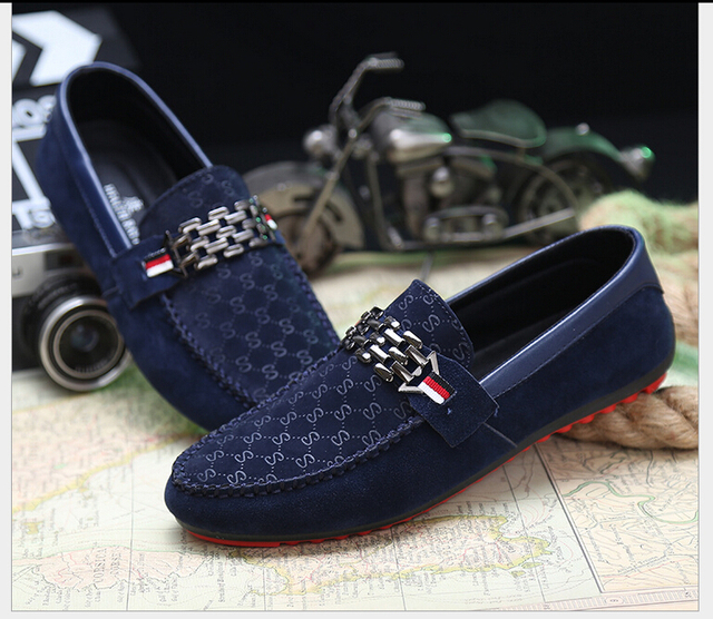 3b96c10544fb9b Spring Autumn Men Black Loafer Shoes Trendy Nubuck Leather Slip-on Loafers  Vintage Style Men Driving Casual Blue Flat Shoes