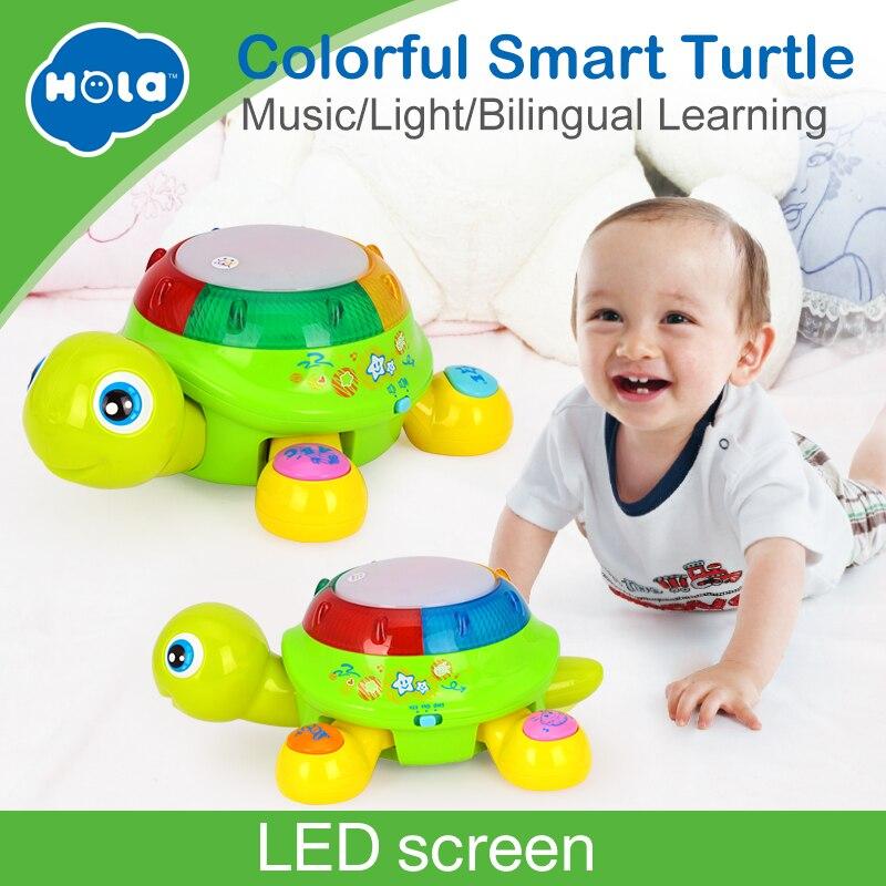 HOLA 596 Anglais et Espagnol Langue Électrique Tortue Jouet avec La Musique et Lumière Début jouets éducatifs pour Enfants