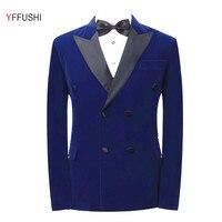 YFFUSHI Latest Design Men Suit Jacket Navy Red Jacket Black Collar Homme Marriage Masculino Best Men