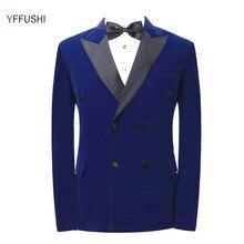 YFFUSHI Latest Design Men Suit Jacket Navy Blue Jacket Black Collar Homme Marriage Masculino Best Men's Blazer Plus 6XL