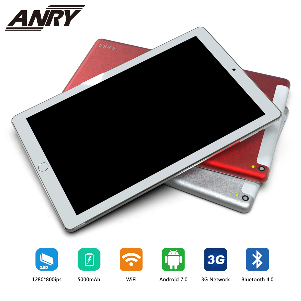 ANRY 10 pouces tablette Support Youtube Quad Core 4 GB RAM 32 GB ROM 3G appel téléphonique Android 7.0 tablette GPS WIFI 1280X800 IPS Pad