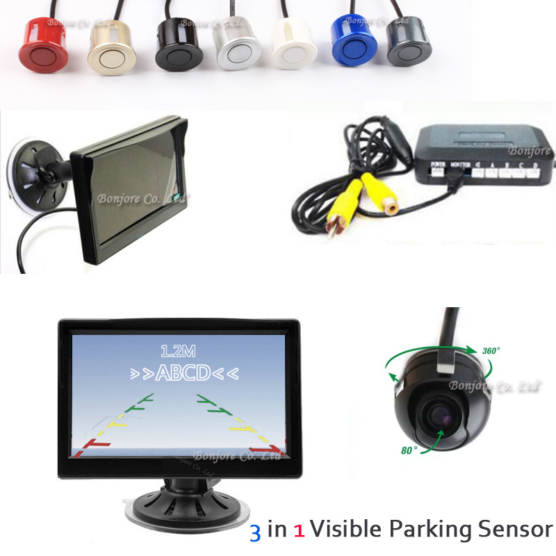 Dual Core Car Visual Car Parking Sensor + CCD 360 degree reversing Rear View Camera + 5 '' HD Monitor Parking System Assistance