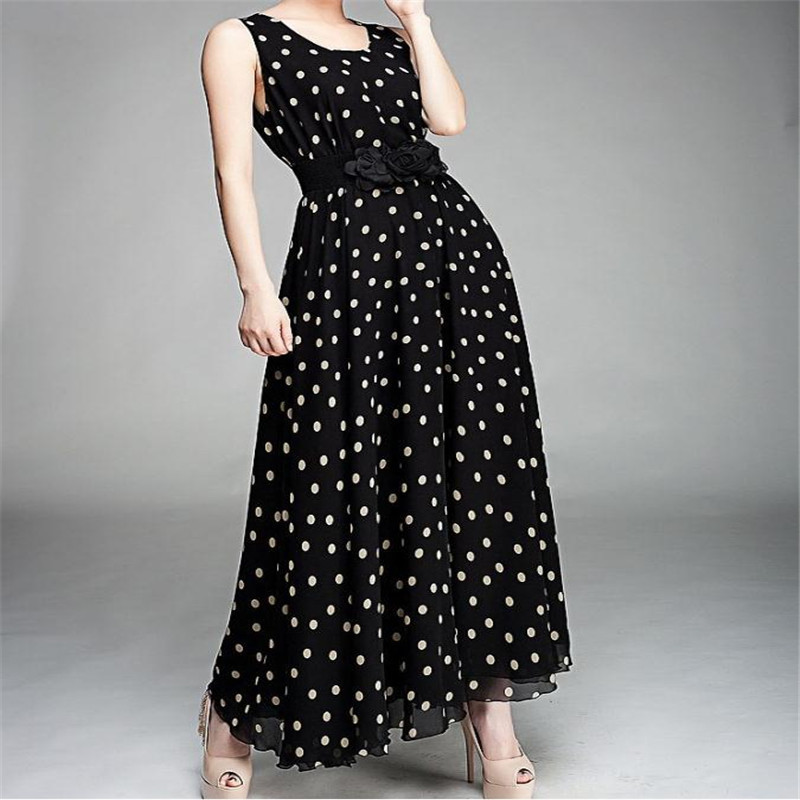 Europe and America long black sleeveless dress with white dots delicate double flower belt chiffon Polka Dot Dress #65848
