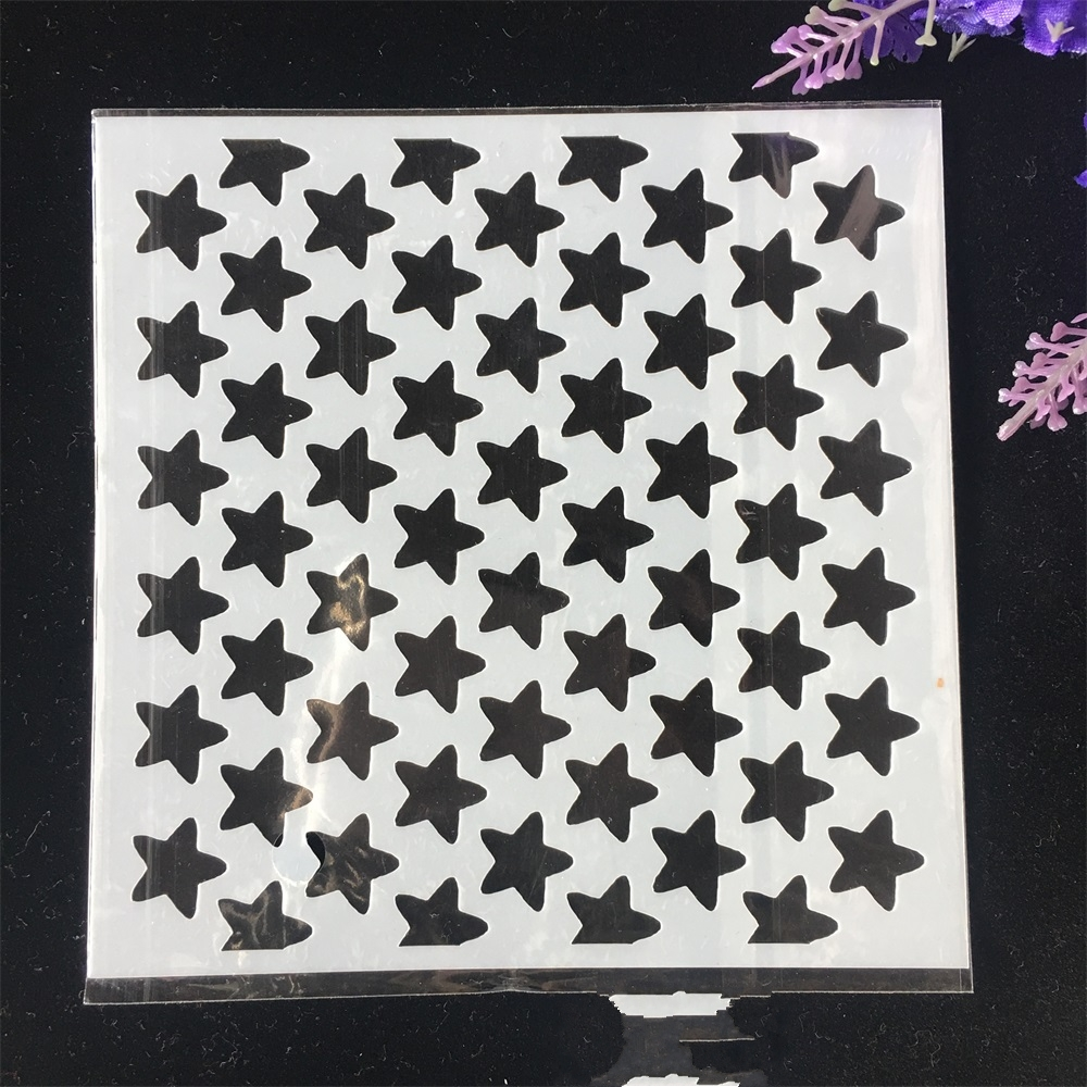 1Pcs 13cm Star Texture DIY Craft Layering Stencils Wall Painting Scrapbooking Stamping Embossing Album Card Template