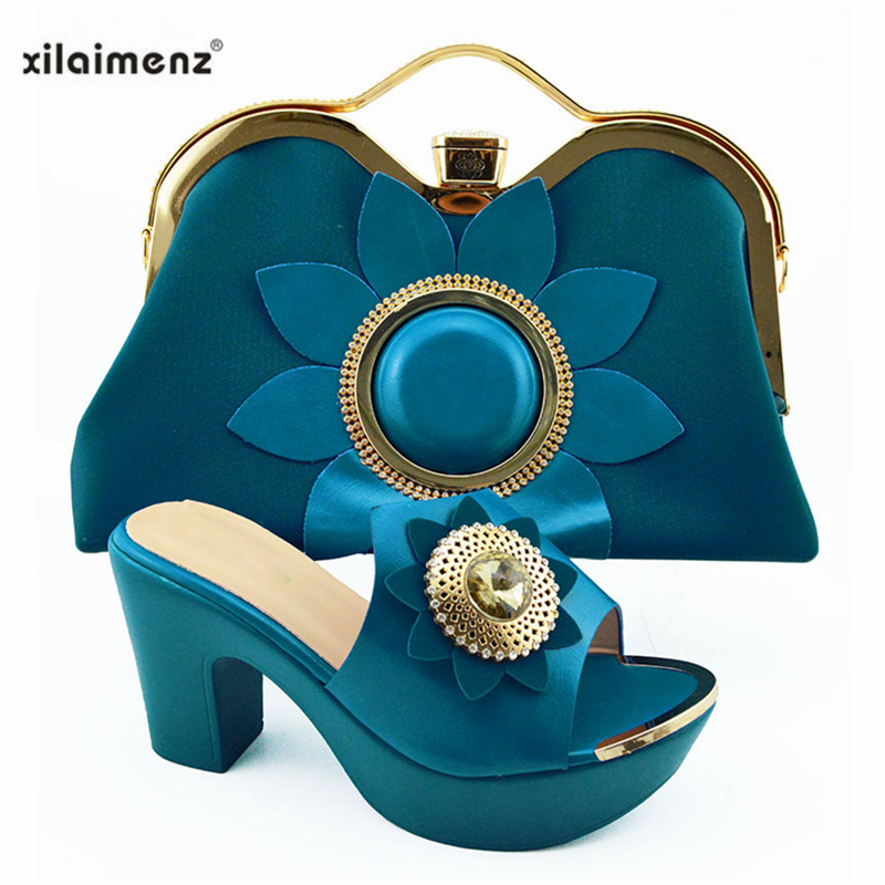 New Italian Elegant Women Shoes And Bag To Match Set African Comfortable Heels Party Shoes And