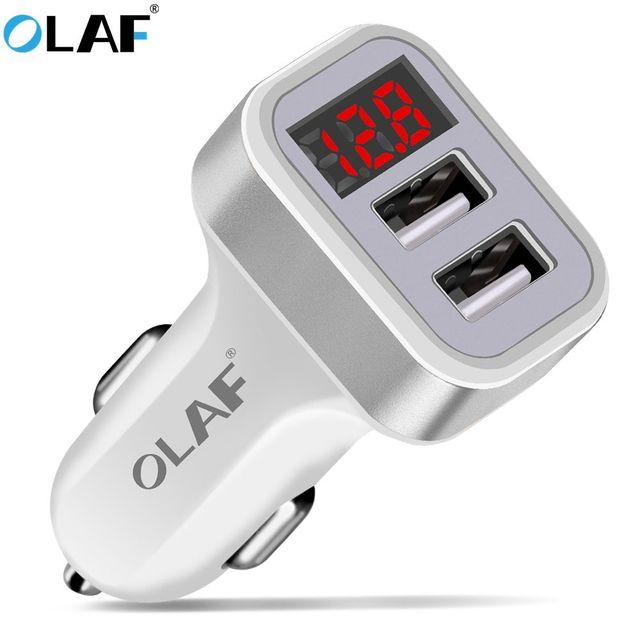 La Olaf cargador de coche pantalla Digital 2.1A doble puerto adaptador de cargador USB para iPhone Samsung Xiaomi Huawei P20 lite USB teléfono de carga