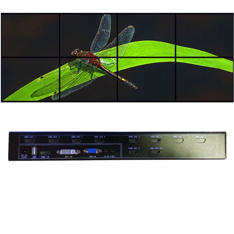 2x4 HDMI видео стены контроллер для lcd-видеостена выход HDMI VGA, DVI, HDMI вход USB