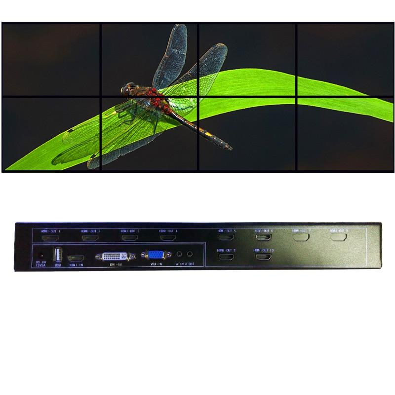 2x4 hdmi vidéo contrôleur mural pour mur vidéo lcd sortie hdmi vga dvi hdmi entrée usb