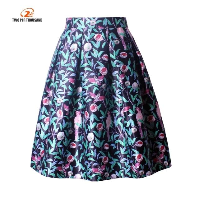 f68f69c6b Autumn Pleated Skater Skirt Vintage Flowers Print Tutu Midi Skirt Elegant  Knee-Length Skirts Womens Saia Faldas Jupe 50s Retro