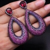 Luxury Water drop big Earrings Full Mirco Paved Purple Red AAA Zirconia Women Exquisite Lace pattern BOHO Dangle Earring jewelry