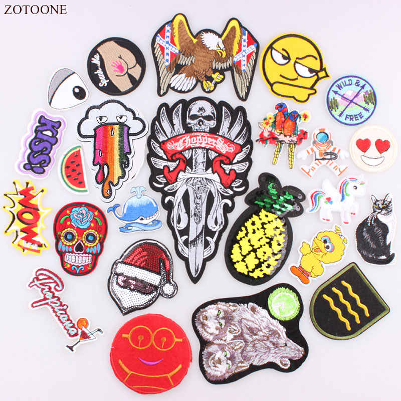 ZOTOONE Sequin Patches Cat Pineapple Punk Letter Unicorn Embroidered Patches For Clothing Iron On Patch Applique DIY Accessory B