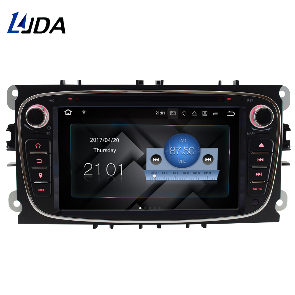LJDA 2 DIN 7 Inch Android 7.1 Car Radio DVD Player For FORD FOCUS MONDEO S-MAX C-MAX GALAXY GPS Navigation Bluetooth Auto audio