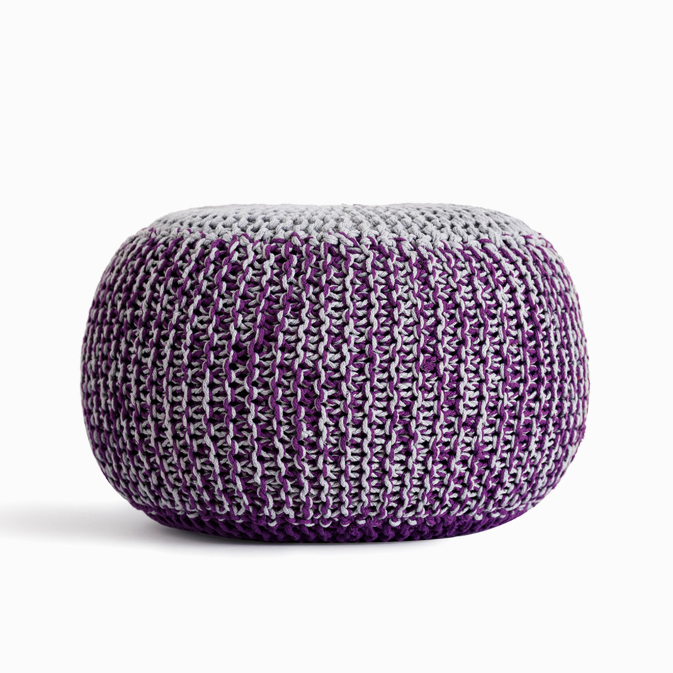 Hand-Knitted Ottoman Pouf Comfortable Footrest & Stool Hand Knit Floor Footstool Pouf for Living Room, Bedroom and Under Desk ascalon upholstered ottoman pouf in beige fabric