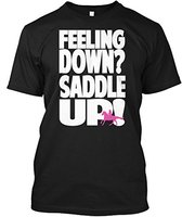 New Funny T Shirt Men Brand Clothing Fashion Printed Short Horse Riding Feeling Down Saddle Up