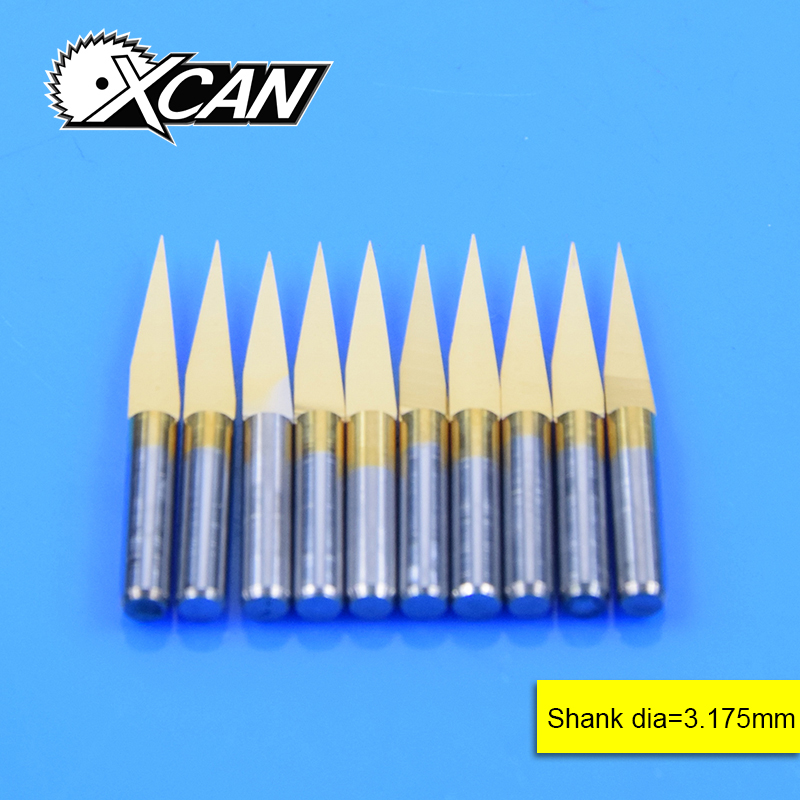 Free Shipping10Pcs 3.175mm Tungsten Steel V Shape Carbide PCB Engraving Bits CNC Router Tool 10 Degree 0.1mm Machine Accessories цена