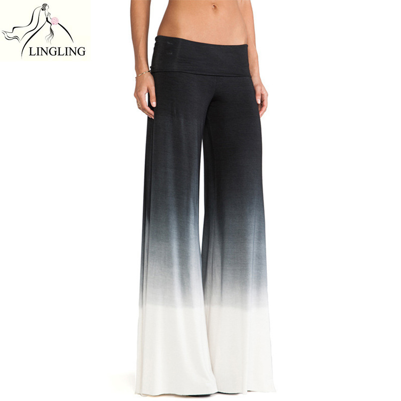 91ae27f443c5d4 Yoga Pants Women Long Loose Dance Trousers Wide Leg Pants Mid Waist Solid  Dance Comfy Elastic Flare Trousers Cotton Blend-in Yoga Pants from Sports  ...