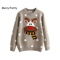 Merry Pretty Winter Warm Sweater Women Christmas Deer Cute Dot Cotton Jumper Knitted Sweaters Female Long Sleeve Pullovers
