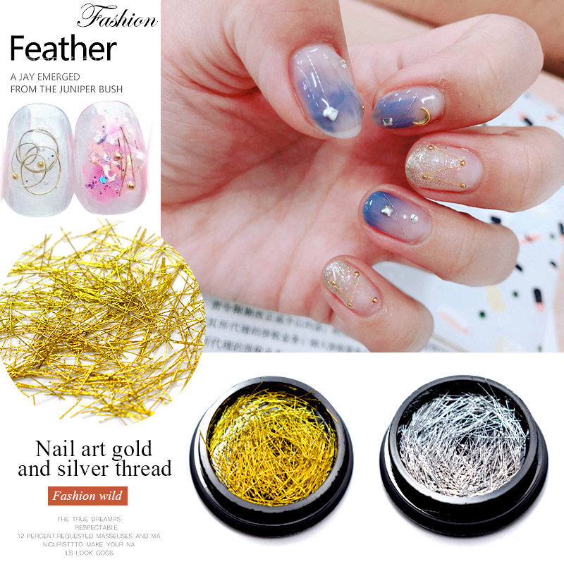 MIZHSE Gold Silver Nail Strip Accessories Nail Art 3D Nail Decoration Metal Wire Line Mirror Flakies Set UV Gel Nail Decoration