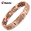 Rainso Titanium Health Elements(Germanium, FIR, Negative ions,Magnetic) Bracelets & Bangles for Men Rose Gold OTB-1289RG
