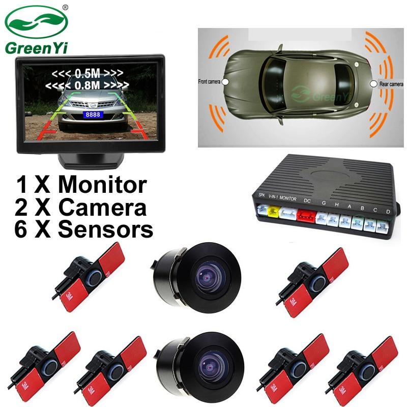 GreenYi 3in1 16 мм оригинальный плоский Сенсор автомобиля спереди и сзади 6 Сенсор s-Video радар Парковка Сенсор + 5″ монитор автомобиля с 2 Камера