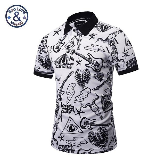4d6a13a7 Camisetas Polo estampadas 3D oferta Moda Hombre 2017 Summe manga corta Polo  Hombre blanco negro pintado