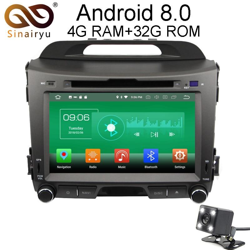 Sinairyu 4G RAM Android 8.0 Car DVD For Kia Sportage 2010 2011 2012 Octa Core 32G ROM Radio GPS Player Head Unit