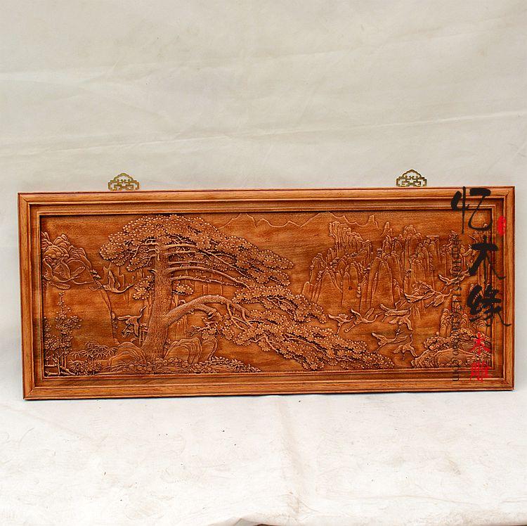 лучшая цена Dongyang wood carving wood plaque hanging pendant cross screen rectangular living room TV background decoration
