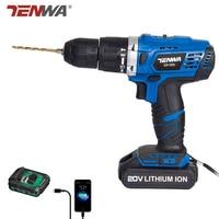 Tenwa 2 Скорость удара электродрель 20 В Электроинструмент Электрическая аккумуляторная дрель бытовой литий ионный Батарея беспроводные дрел