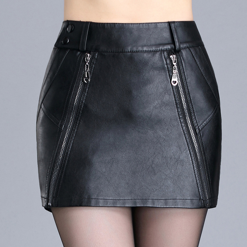 SWYIVY Womens   Shorts   Skirts Slim Black Autumn 2018 Female Sexy Mini Hip Step Skirt Slim Leather Skirts Lady Fashion Clothing 4XL