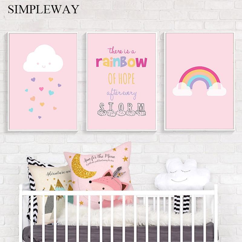 Pink Rainbow Ice Cream Canvas Painting Nursery Wall Art Print Poster Nordic Deco