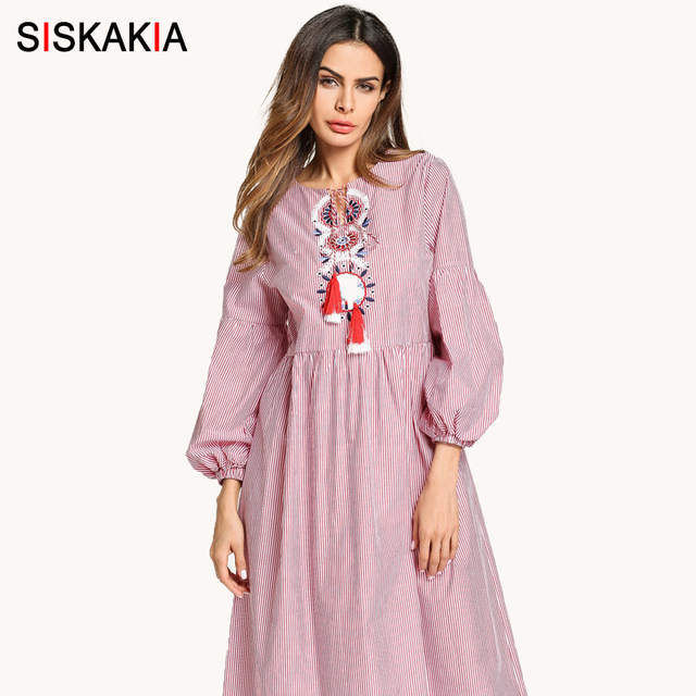 Online Shop Siskakia Autumn 2018 Women Dress Ethnic Embroidery A Line  Striped Long Fashion Muslim Maxi Dresses Fall Female Pink Tie Tassel  307d51c2e1ef