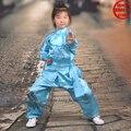 Мальчики и Девочки 8 Цвета Тай-чи Кунг-фу Костюм боевые искусства Вин Чун Ушу Каратэ Униформа