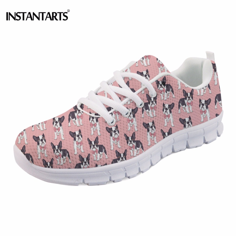 INSTANTARTS Funny Animal Classy Boston Terrier Print Women Flats Shoes Fashion Breathable Spring Sneakers Casual Mesh Flat Shoes instantarts cute glasses cat kitty print women flats shoes fashion comfortable mesh shoes casual spring sneakers for teens girls
