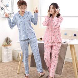 Новые пижамные комплекты для женщин с милым принтом кота, комплект из 2 предметов, Хлопковая пижама с длинными рукавами и эластичной