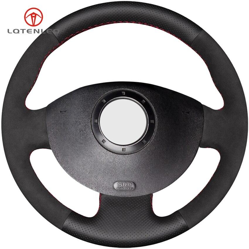 LQTENLEO Black Genuine Leather Suede Car Steering Wheel Cover For Renault Megane 2 2003 2008 Kangoo