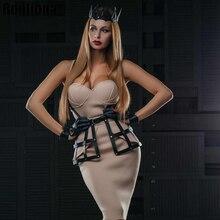 ملابس داخلية مثيرة جلدية فستان للنساء تنورة القوطية الوثن الجسم حزام الخصر عبودية حزام الجنس المثيرة قفص الثدي الجنسي