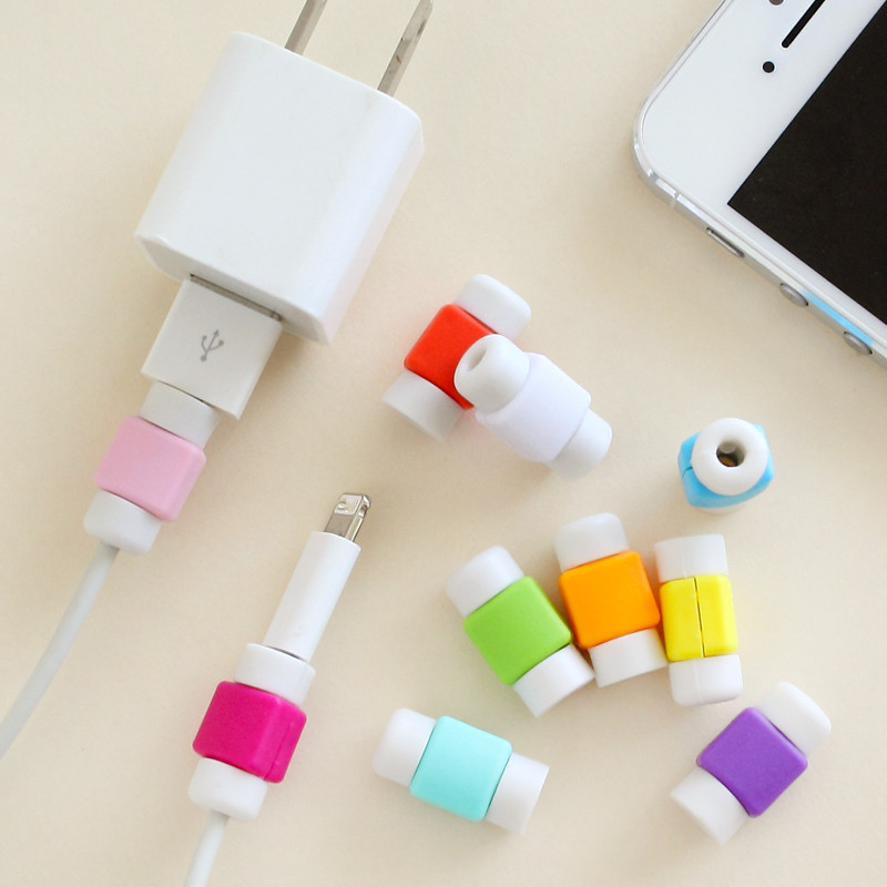 2pcs/lot Fashion New USB Cable Earphones Protector Colorful Cover Coque For Iphone 4 4s 5 5s 5c se 6 6s Plus