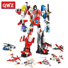 QWZ 6 in 1 Mecha Mecha Robot Transform Helicopter Aircraft Building Blocks Bricks Toys For Children Gifts Compatible Legoings(China)
