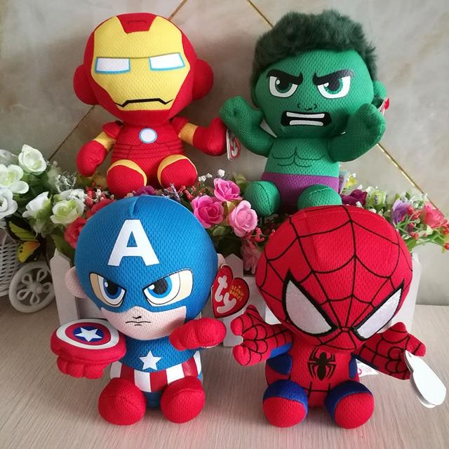 DC Marvel Plush Toys Avengers Superhero Plush Dolls Captain America Ironman  Iron man Spiderman Hulk Plush Soft Toy Spider man e56ed6bd018f